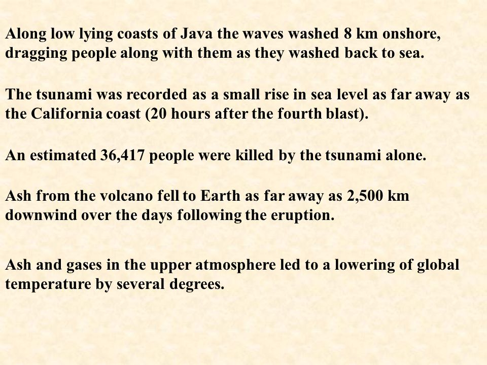The collapse of the caldera, combined with the explosion, generated a massive tsunami with a maximum height at landfall of 45 m. Coral blocks up to 60