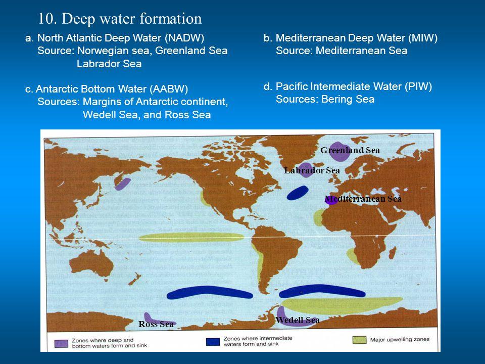 10. Deep water formation Greenland Sea Labrador Sea Wedell Sea Ross Sea Mediterranean Sea a. North Atlantic Deep Water (NADW) Source: Norwegian sea, G