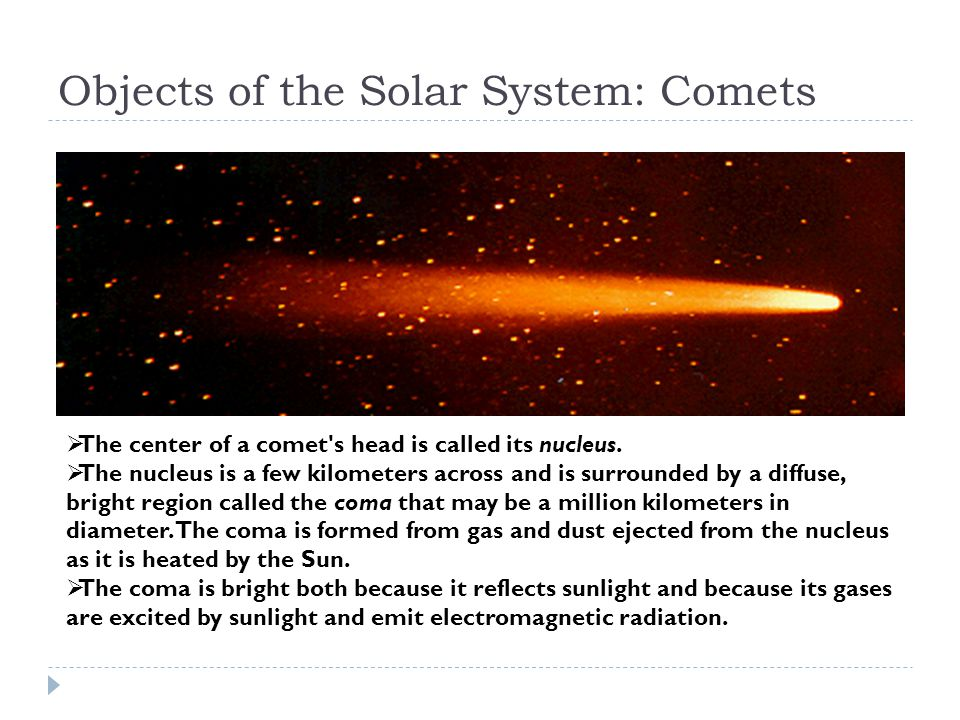 Objects of the Solar System: Comets  The center of a comet s head is called its nucleus.