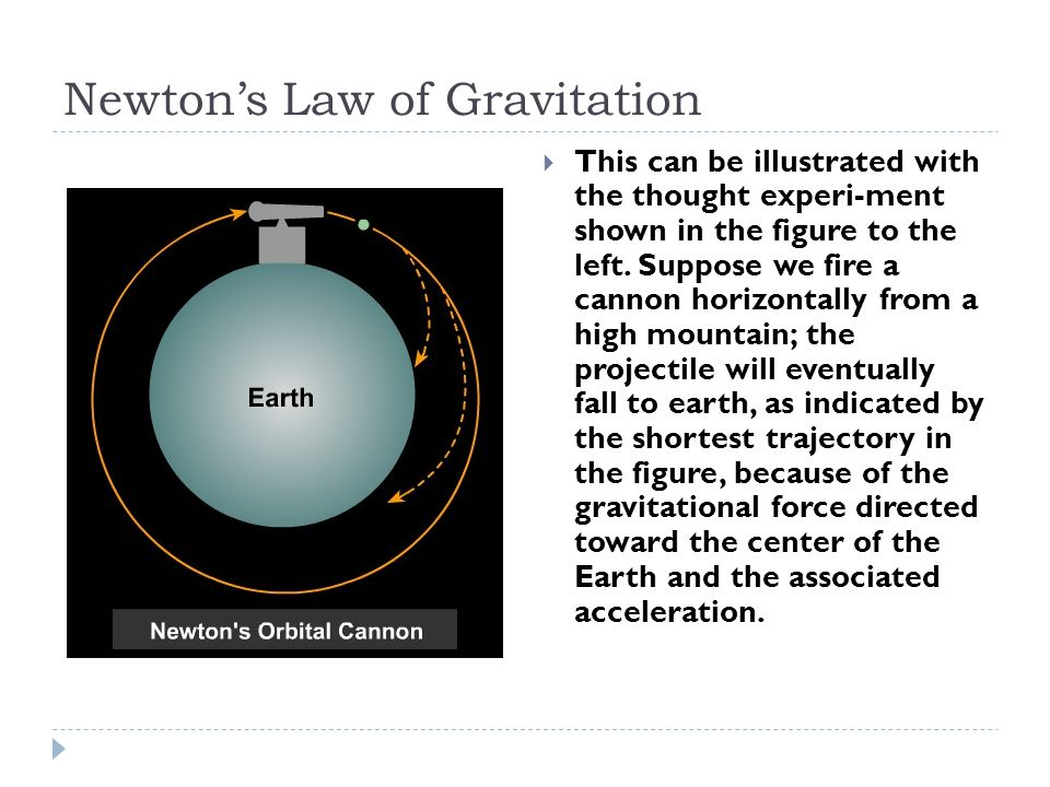 Newton's Law of Gravitation  This can be illustrated with the thought experi-ment shown in the figure to the left.