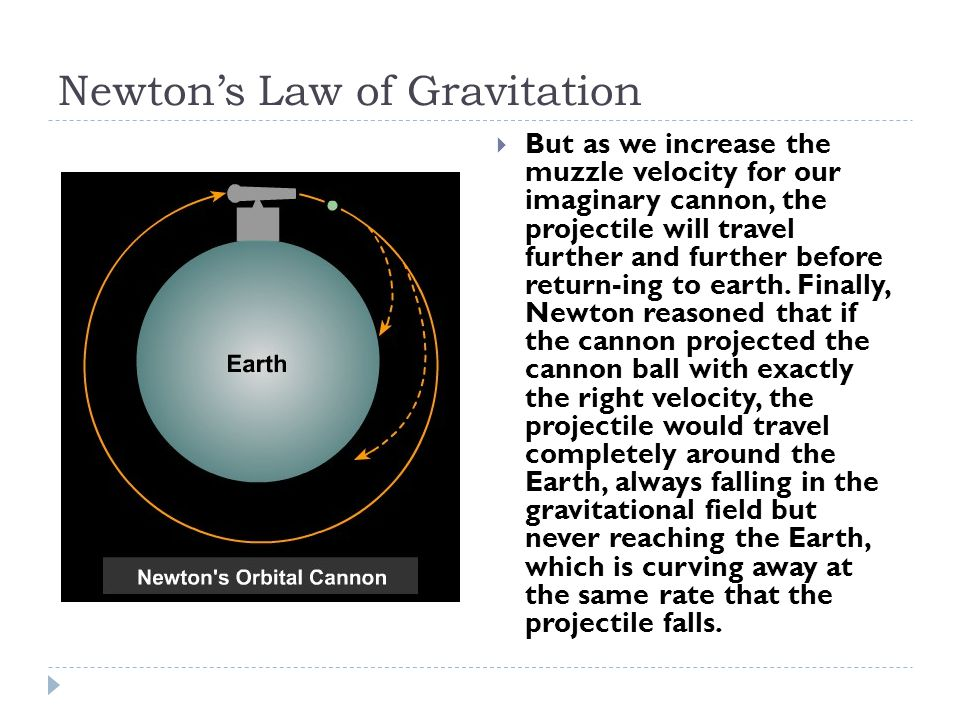 Newton's Law of Gravitation  But as we increase the muzzle velocity for our imaginary cannon, the projectile will travel further and further before return-ing to earth.