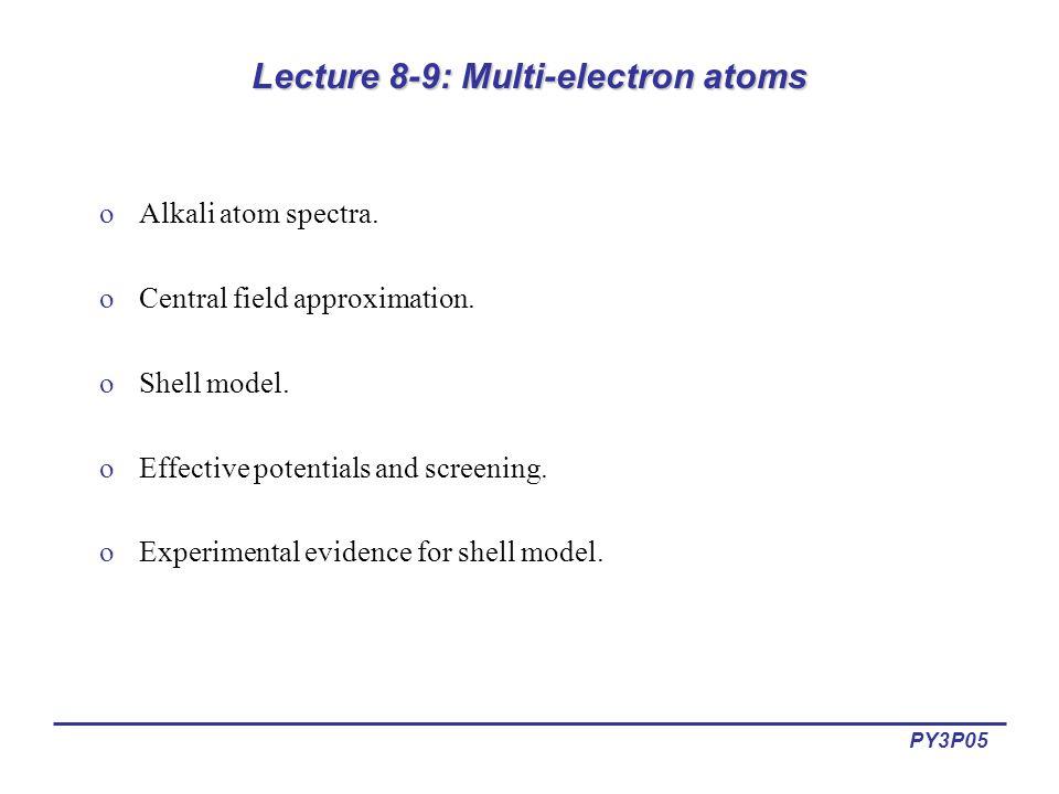 PY3P05 Lecture 8-9: Multi-electron atoms oAlkali atom spectra.