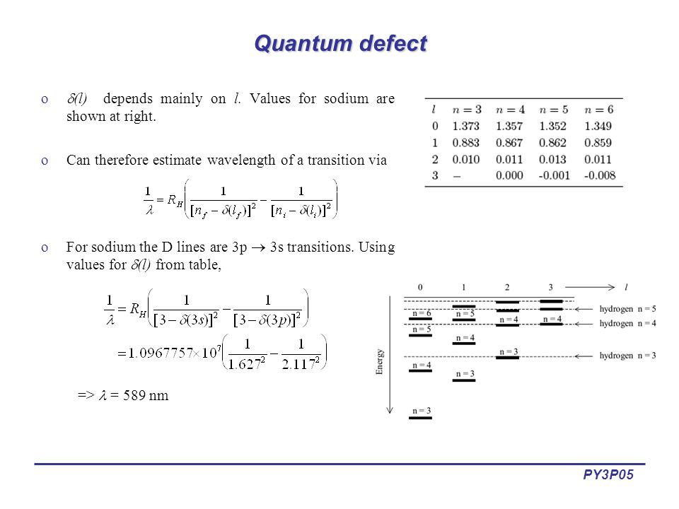 PY3P05 Quantum defect o  (l) depends mainly on l.
