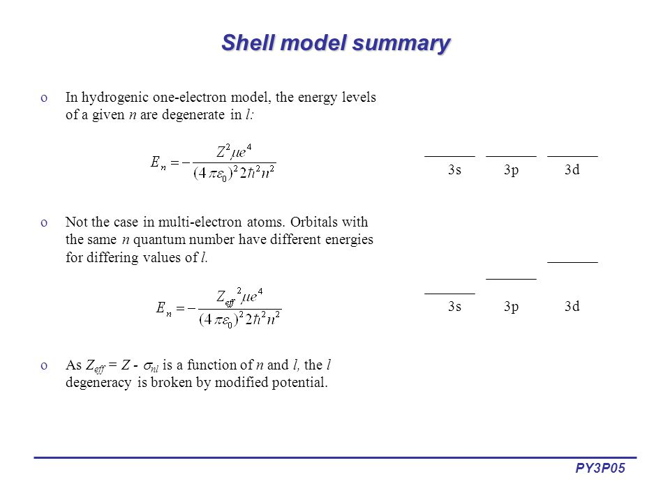 PY3P05 Shell model summary oIn hydrogenic one-electron model, the energy levels of a given n are degenerate in l: oNot the case in multi-electron atoms.