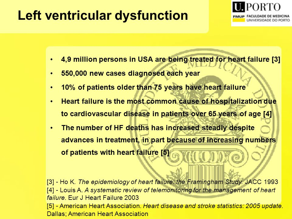 4,9 million persons in USA are being treated for heart failure [3] 550,000 new cases diagnosed each year 10% of patients older than 75 years have heart failure Heart failure is the most common cause of hospitalization due to cardiovascular disease in patients over 65 years of age [4] The number of HF deaths has increased steadly despite advances in treatment, in part because of increasing numbers of patients with heart failure [5] [3] - Ho K.
