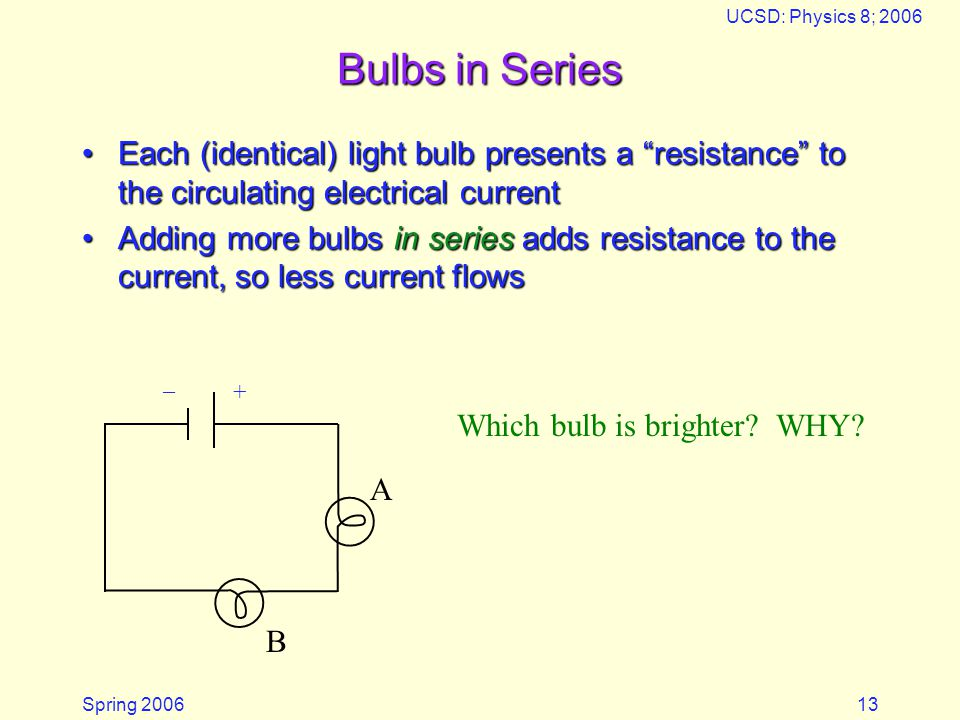 "Spring 2006 UCSD: Physics 8; 2006 13 Bulbs in Series Each (identical) light bulb presents a ""resistance"" to the circulating electrical currentEach (id"