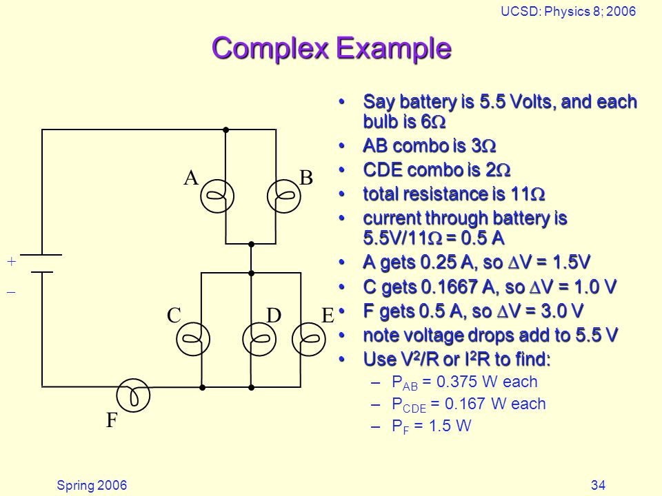 Spring 2006 UCSD: Physics 8; 2006 34 Complex Example Say battery is 5.5 Volts, and each bulb is 6  AB combo is 3  CDE combo is 2  total resistance