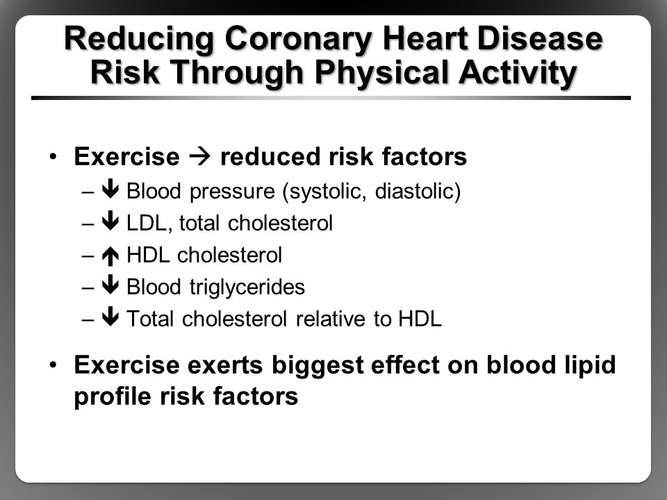 Reducing Coronary Heart Disease Risk Through Physical Activity Exercise  reduced risk factors –  Blood pressure (systolic, diastolic) –  LDL, total cholesterol –  HDL cholesterol –  Blood triglycerides –  Total cholesterol relative to HDL Exercise exerts biggest effect on blood lipid profile risk factors