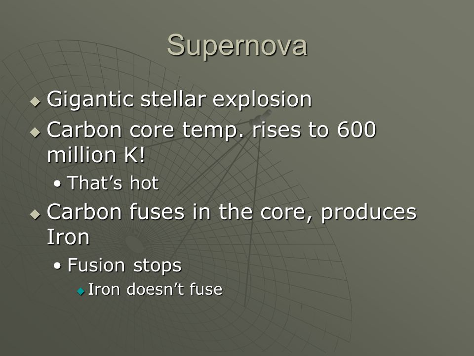 Supernova  Gigantic stellar explosion  Carbon core temp.