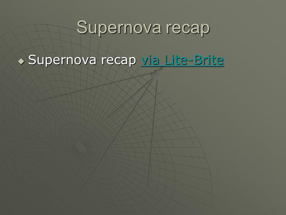 Supernova recap  Supernova recap via Lite-Brite via Lite-Britevia Lite-Brite