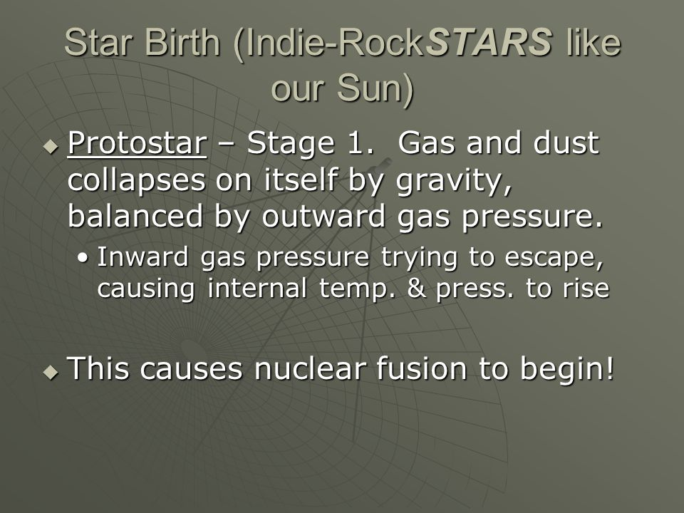 Star Birth (Indie-RockSTARS like our Sun)  Protostar – Stage 1.