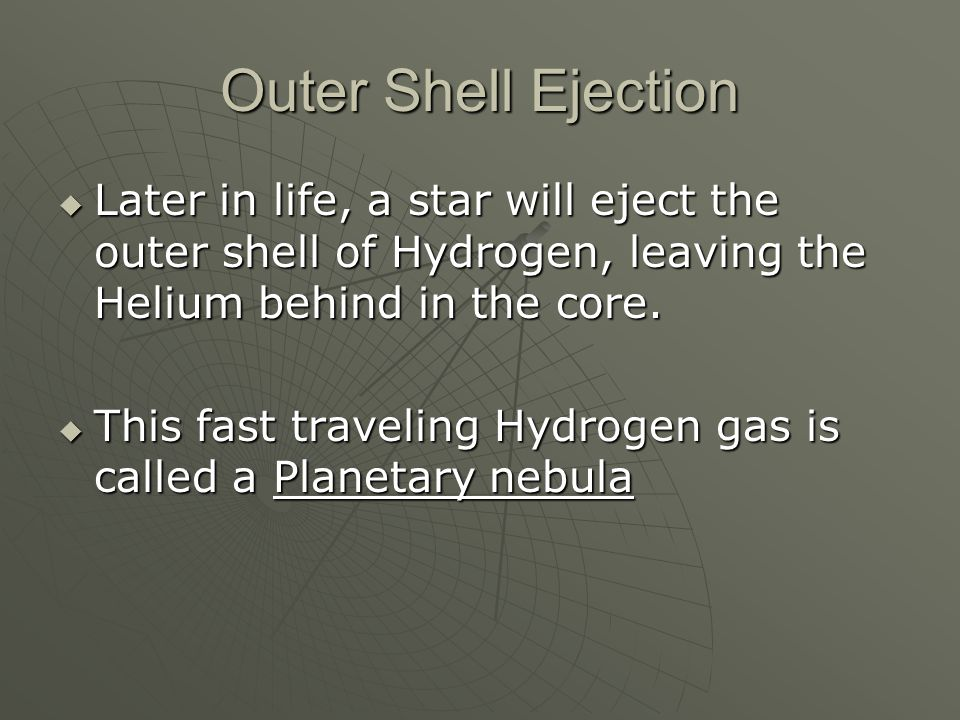 Outer Shell Ejection  Later in life, a star will eject the outer shell of Hydrogen, leaving the Helium behind in the core.
