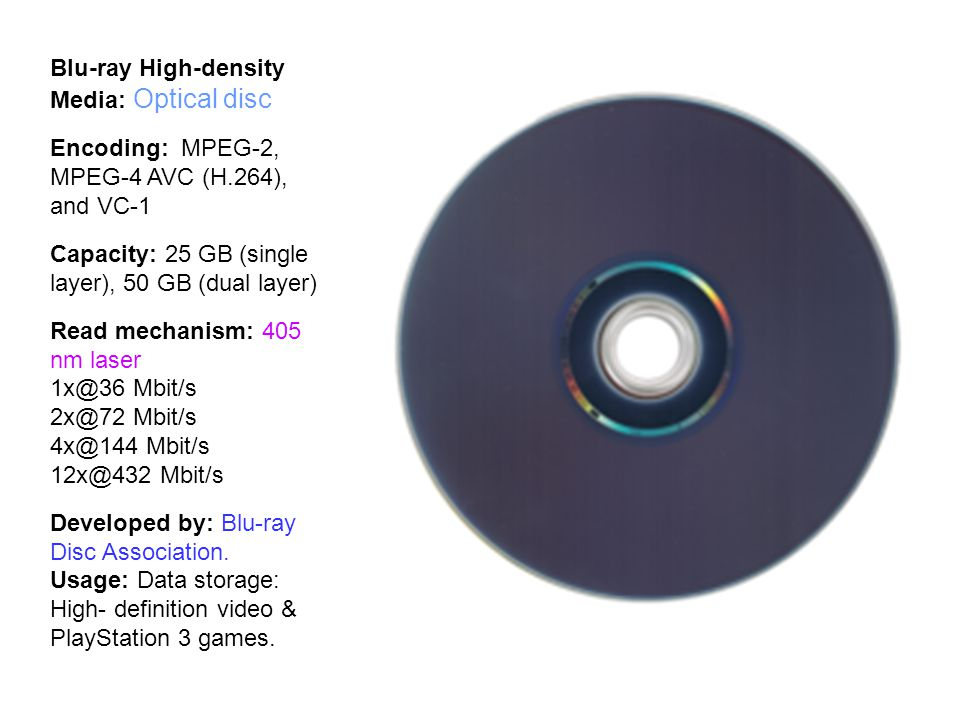 Blu-ray High-density Media: Optical disc Encoding: MPEG-2, MPEG-4 AVC (H.264), and VC-1 Capacity: 25 GB (single layer), 50 GB (dual layer) Read mechanism: 405 nm laser 1x@36 Mbit/s 2x@72 Mbit/s 4x@144 Mbit/s 12x@432 Mbit/s Developed by: Blu-ray Disc Association.