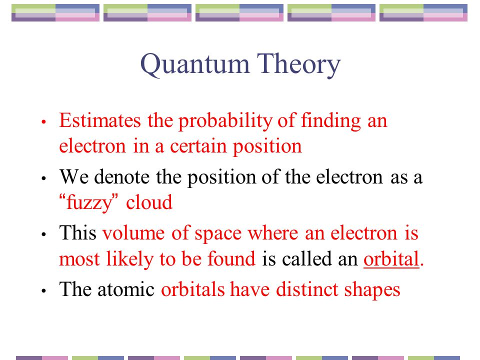"""Quantum Theory Estimates the probability of finding an electron in a certain position We denote the position of the electron as a """"fuzzy"""" cloud This v"""