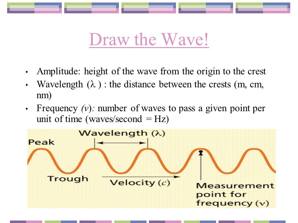 Draw the Wave! Amplitude: height of the wave from the origin to the crest Wavelength ( ) : the distance between the crests (m, cm, nm) Frequency (v):