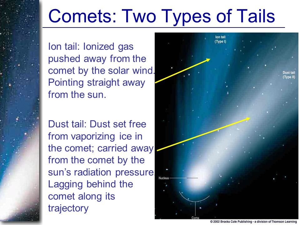Comets: Two Types of Tails Ion tail: Ionized gas pushed away from the comet by the solar wind.