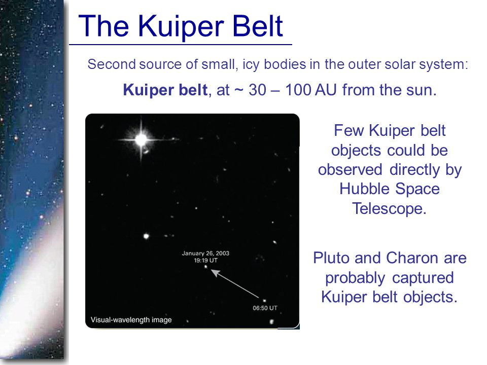 The Kuiper Belt Second source of small, icy bodies in the outer solar system: Kuiper belt, at ~ 30 – 100 AU from the sun.