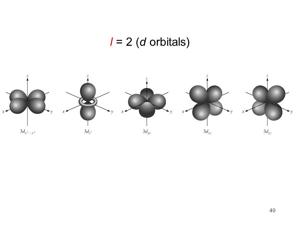 40 l = 2 (d orbitals)