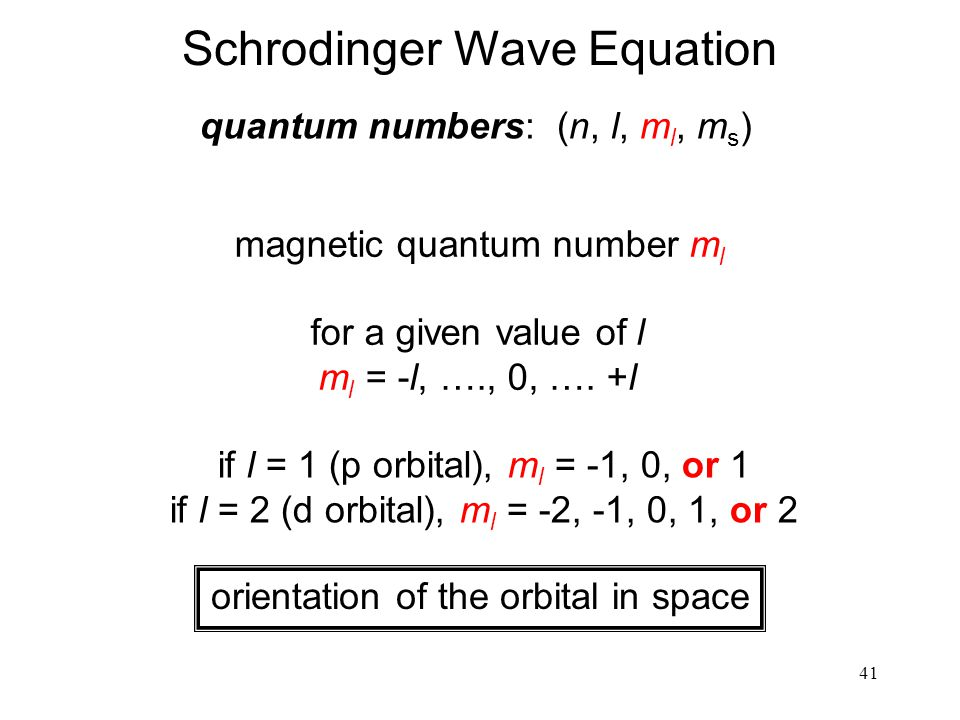 41 quantum numbers: (n, l, m l, m s ) magnetic quantum number m l for a given value of l m l = -l, …., 0, …. +l orientation of the orbital in space if