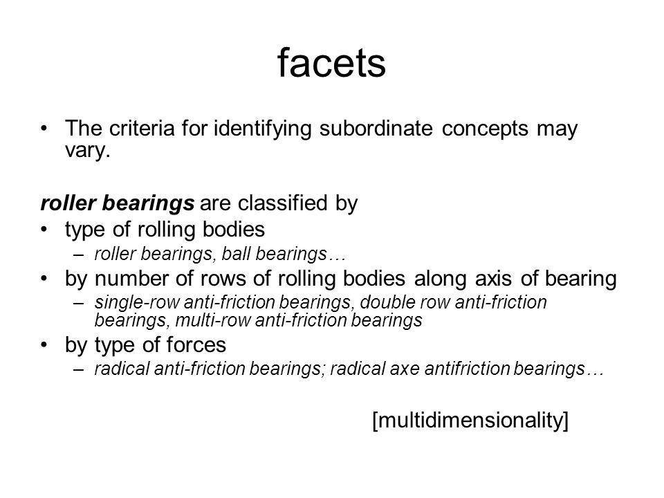 facets The criteria for identifying subordinate concepts may vary.