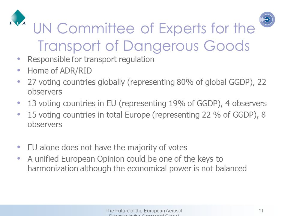 11The Future of the European Aerosol Directive in the Context of Global Harmonization UN Committee of Experts for the Transport of Dangerous Goods Responsible for transport regulation Home of ADR/RID 27 voting countries globally (representing 80% of global GGDP), 22 observers 13 voting countries in EU (representing 19% of GGDP), 4 observers 15 voting countries in total Europe (representing 22 % of GGDP), 8 observers EU alone does not have the majority of votes A unified European Opinion could be one of the keys to harmonization although the economical power is not balanced