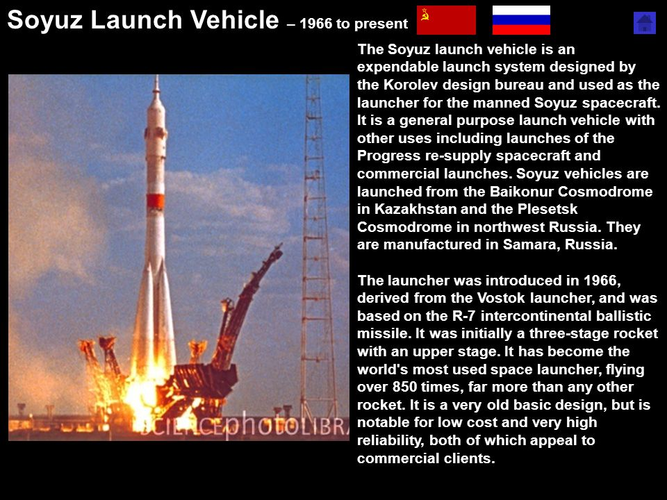 Soyuz Launch Vehicle – 1966 to present http://en.wikipedia.org/wiki/Space_race The Soyuz launch vehicle is an expendable launch system designed by the