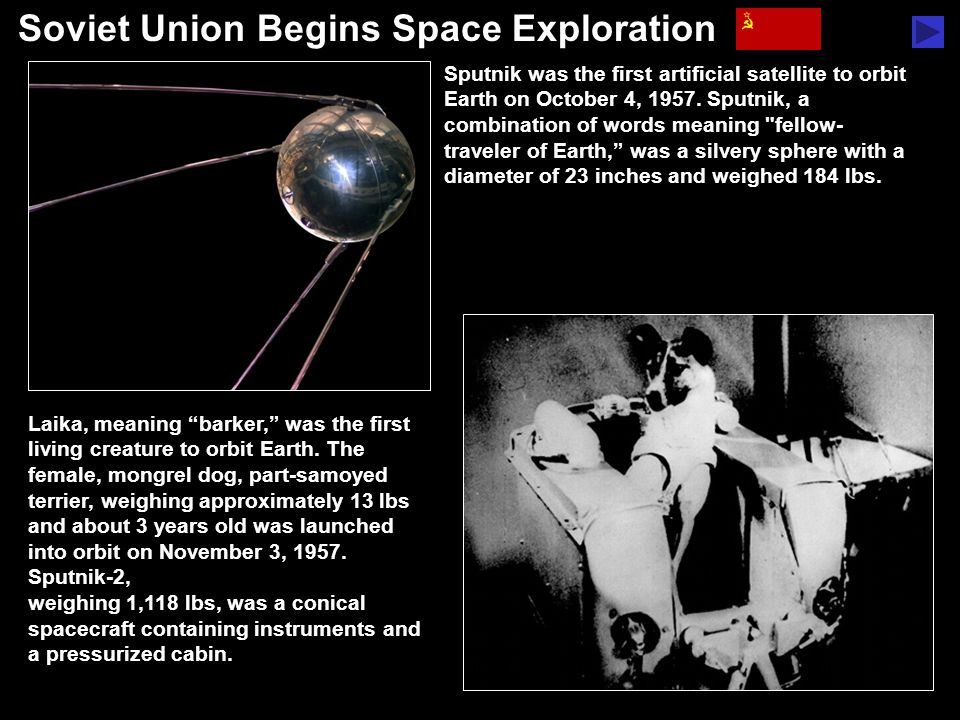 "Soviet Union Begins Space Exploration Laika, meaning ""barker,"" was the first living creature to orbit Earth. The female, mongrel dog, part-samoyed ter"