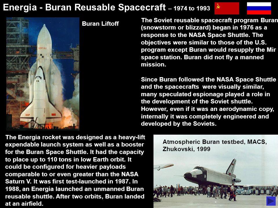 Atmospheric Buran testbed, MACS, Zhukovski, 1999 Energia - Buran Reusable Spacecraft – 1974 to 1993 Buran Liftoff http://en.wikipedia.org/wiki/Buran_%28spacecraft%29 The Soviet reusable spacecraft program Buran (snowstorm or blizzard) began in 1976 as a response to the NASA Space Shuttle.