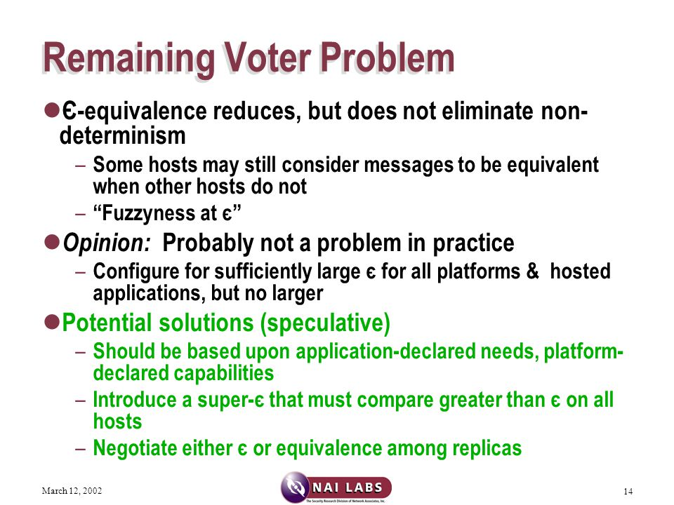 March 12, 2002 14 Remaining Voter Problem Є-equivalence reduces, but does not eliminate non- determinism – Some hosts may still consider messages to be equivalent when other hosts do not – Fuzzyness at є Opinion: Probably not a problem in practice – Configure for sufficiently large є for all platforms & hosted applications, but no larger Potential solutions (speculative) – Should be based upon application-declared needs, platform- declared capabilities – Introduce a super-є that must compare greater than є on all hosts – Negotiate either є or equivalence among replicas