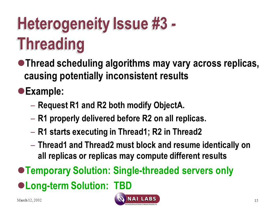 March 12, 2002 15 Heterogeneity Issue #3 - Threading Thread scheduling algorithms may vary across replicas, causing potentially inconsistent results Example: – Request R1 and R2 both modify ObjectA.