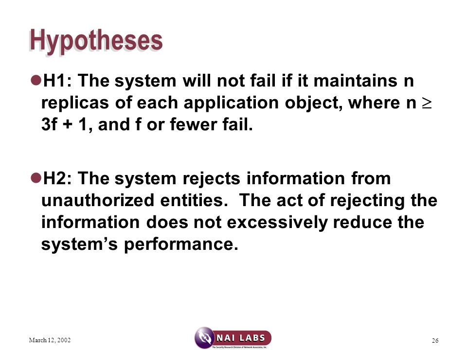 March 12, 2002 26 Hypotheses H1: The system will not fail if it maintains n replicas of each application object, where n  3f + 1, and f or fewer fail.
