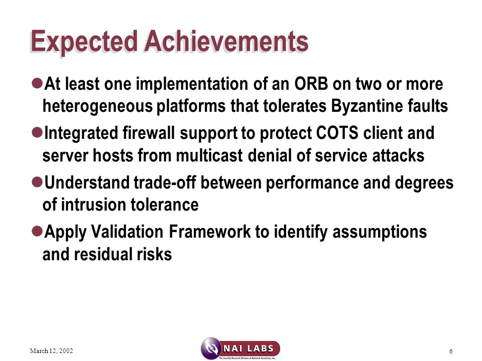 March 12, 2002 27 Performance Variables V1: How the number of faults that the system can tolerate affects transaction times.
