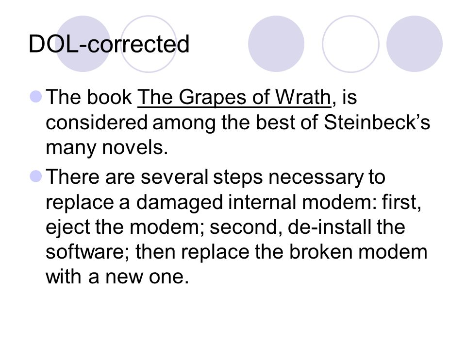 DOL-corrected The book The Grapes of Wrath, is considered among the best of Steinbeck's many novels.