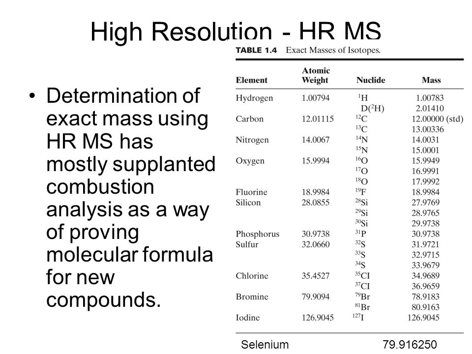 High Resolution - HR MS Determination of exact mass using HR MS has mostly supplanted combustion analysis as a way of proving molecular formula for ne