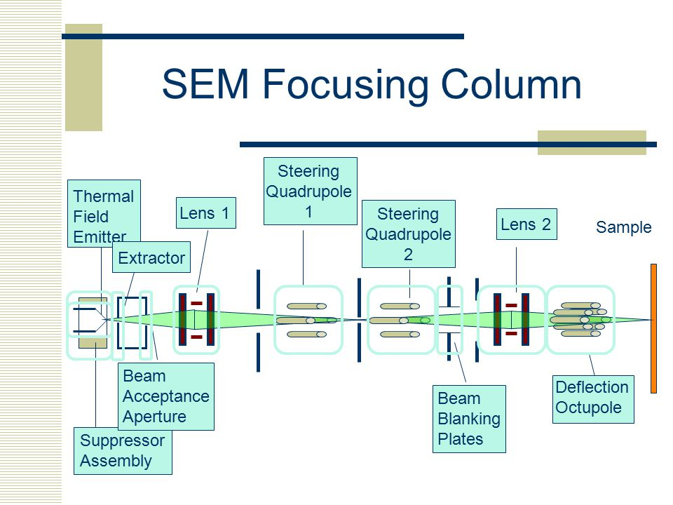 SEM Focusing Column Sample Thermal Field Emitter Suppressor Assembly Extractor Beam Acceptance Aperture Lens 1 Steering Quadrupole 1 Steering Quadrupo