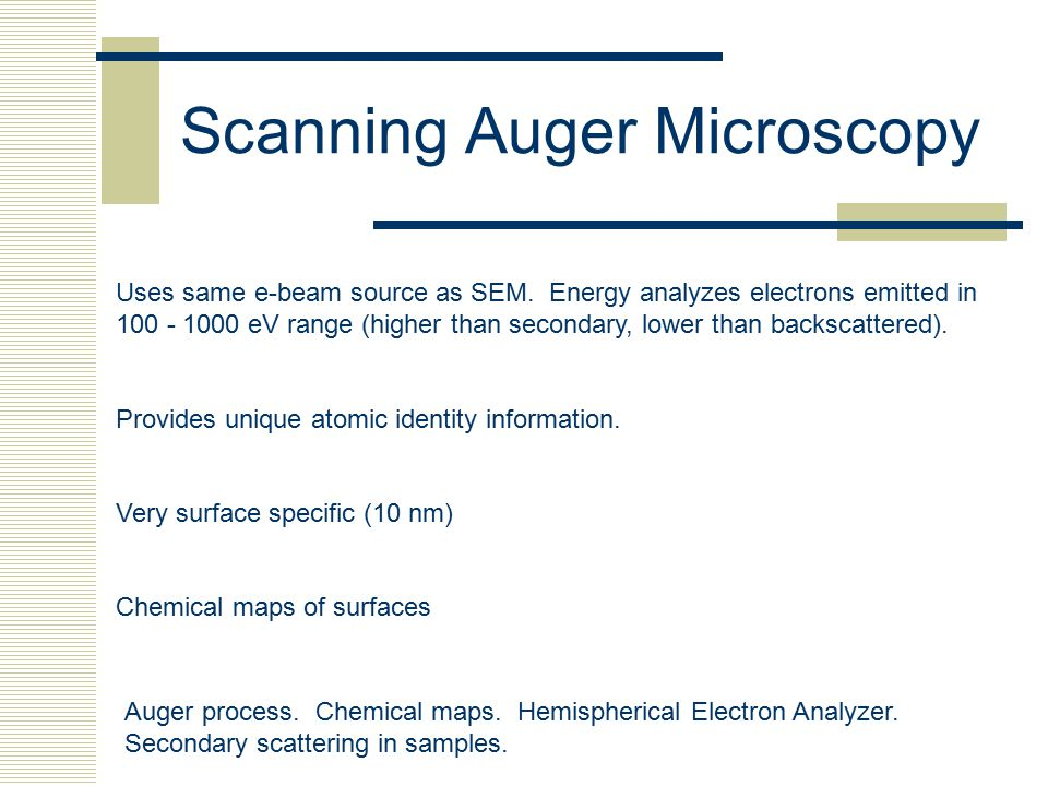 Scanning Auger Microscopy Auger process. Chemical maps. Hemispherical Electron Analyzer. Secondary scattering in samples. Uses same e-beam source as S