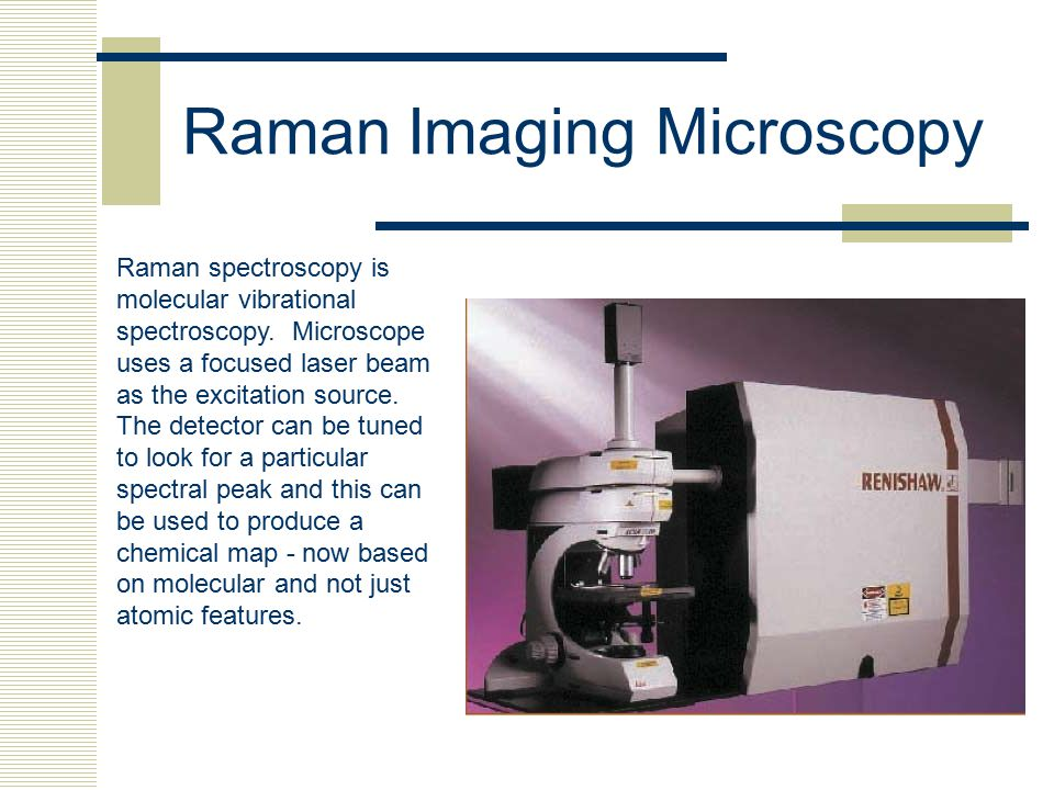 Raman Imaging Microscopy Raman spectroscopy is molecular vibrational spectroscopy. Microscope uses a focused laser beam as the excitation source. The