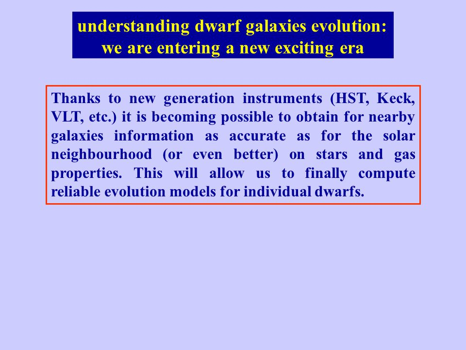 we are entering a new exciting era understanding dwarf galaxies evolution: Thanks to new generation instruments (HST, Keck, VLT, etc.) it is becoming possible to obtain for nearby galaxies information as accurate as for the solar neighbourhood (or even better) on stars and gas properties.