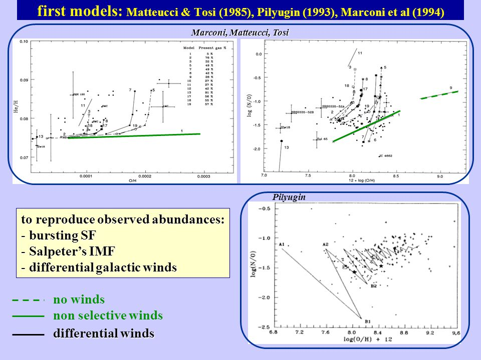 first models: Matteucci & Tosi (1985), Pilyugin (1993), Marconi et al (1994) to reproduce observed abundances: - bursting SF - Salpeter's IMF - differential galactic winds Pilyugin no winds non selective winds Marconi, Matteucci, Tosi differential winds