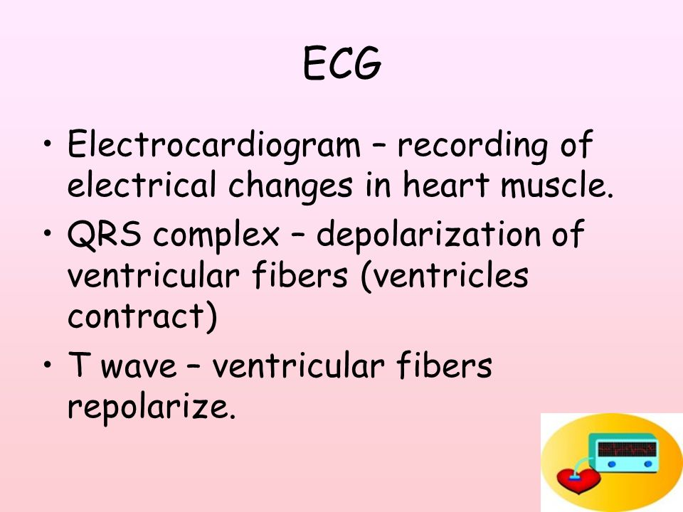 ECG Electrocardiogram – recording of electrical changes in heart muscle.