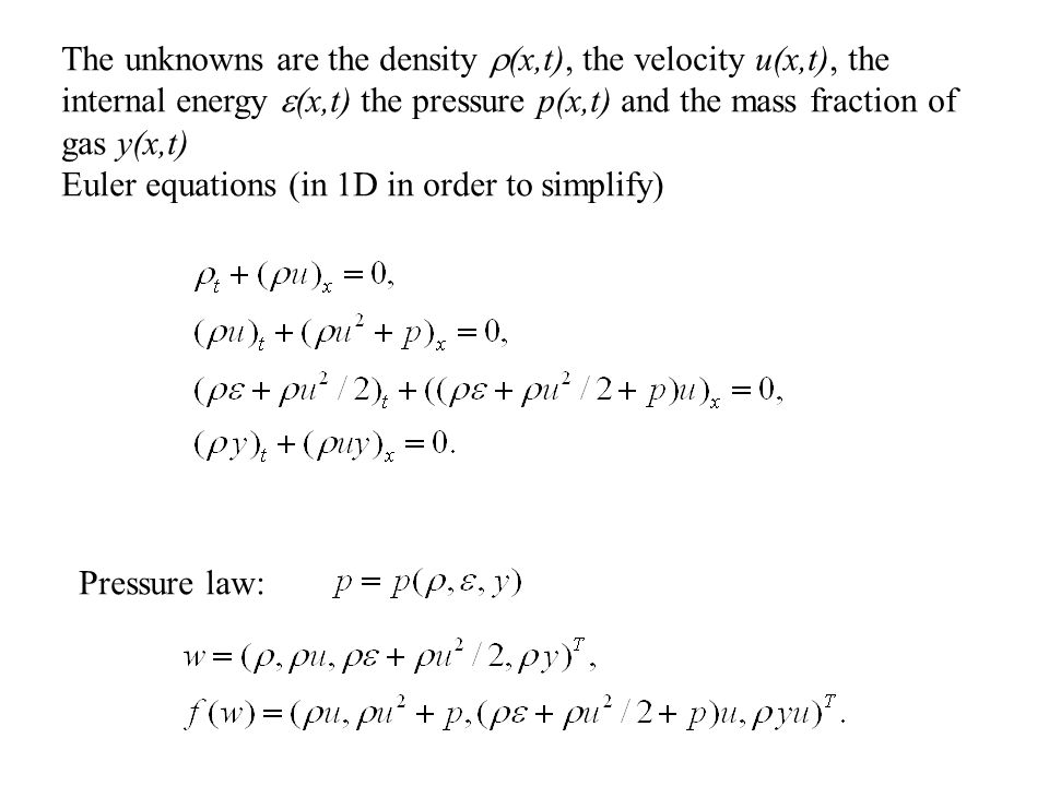 The unknowns are the density  (x,t), the velocity u(x,t), the internal energy  (x,t) the pressure p(x,t) and the mass fraction of gas y(x,t) Euler equations (in 1D in order to simplify) Pressure law:
