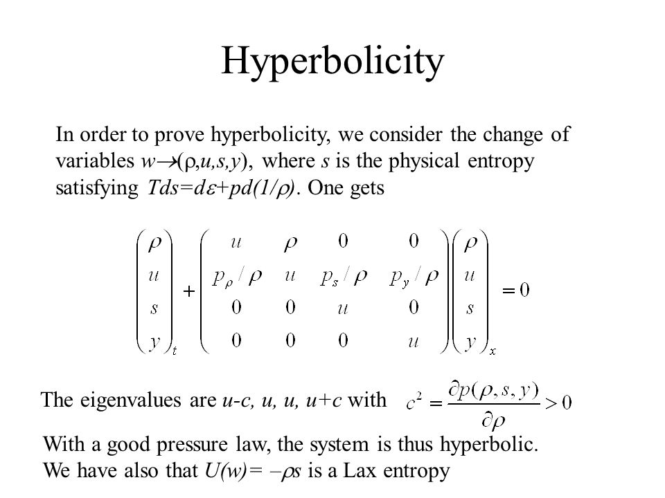 Hyperbolicity In order to prove hyperbolicity, we consider the change of variables w  ( ,u,s,y), where s is the physical entropy satisfying Tds=d  +pd(1/  ).
