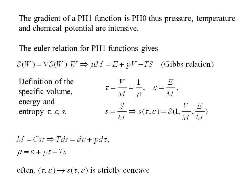 The gradient of a PH1 function is PH0 thus pressure, temperature and chemical potential are intensive.