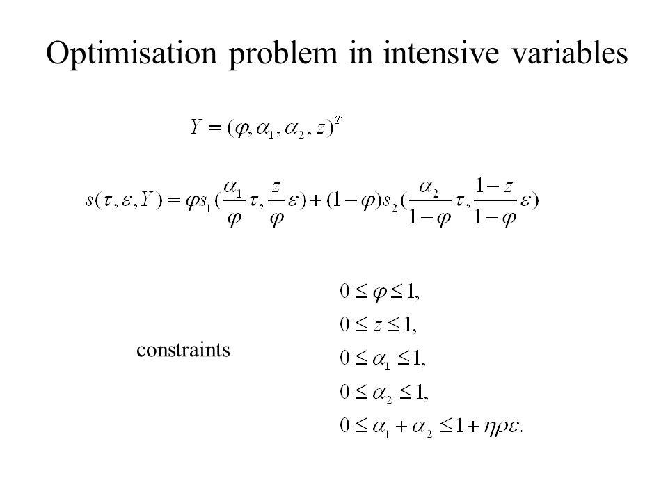 Optimisation problem in intensive variables constraints