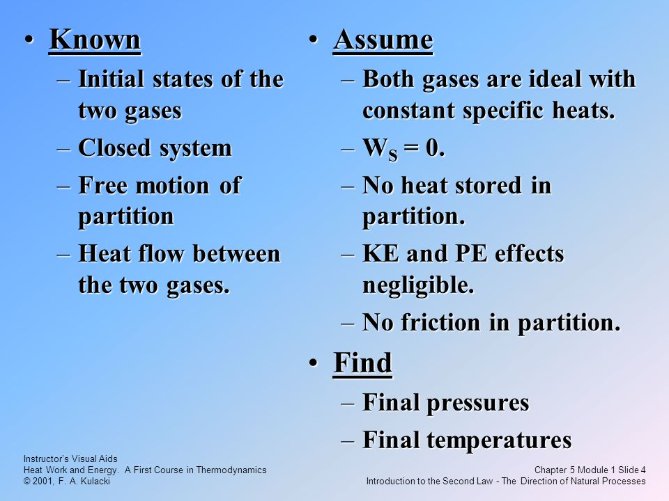 Instructor's Visual Aids Heat Work and Energy. A First Course in Thermodynamics © 2001, F. A. Kulacki Chapter 5 Module 1 Slide 4 Introduction to the S