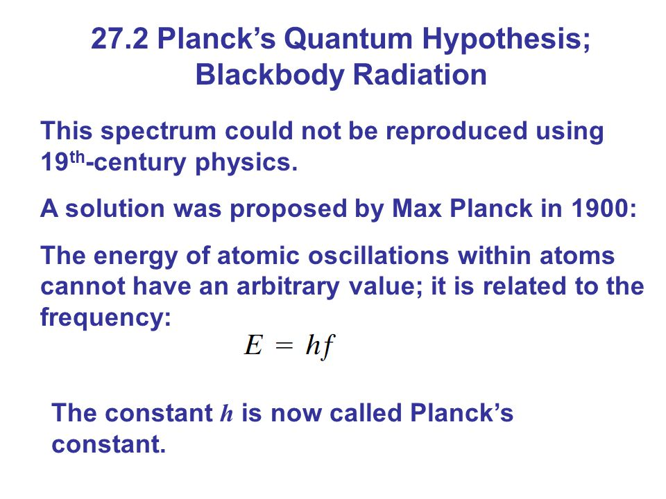 27.2 Planck's Quantum Hypothesis; Blackbody Radiation This spectrum could not be reproduced using 19 th -century physics. A solution was proposed by M