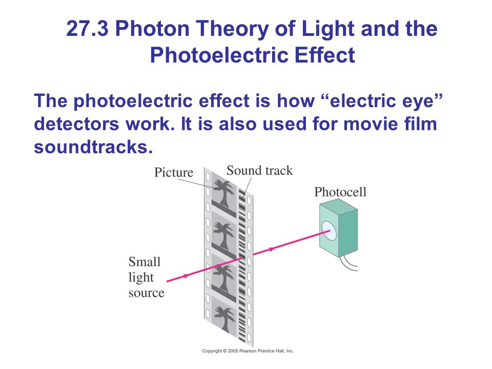 "27.3 Photon Theory of Light and the Photoelectric Effect The photoelectric effect is how ""electric eye"" detectors work. It is also used for movie film"