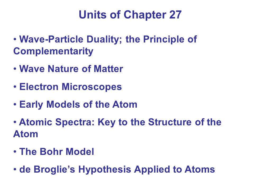 Summary of Chapter 27 Planck's hypothesis: molecular oscillation energies are quantized Light can be considered to consist of photons, each of energy Photoelectric effect: incident photons knock electrons out of material