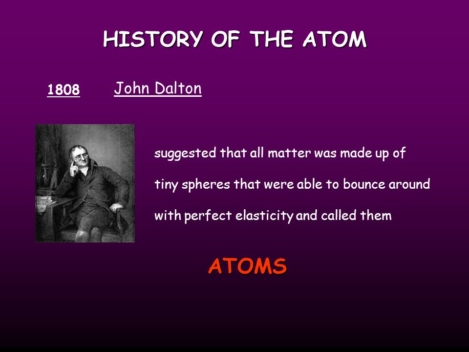Dalton's Atomic Theory All matter consists of tiny particles.