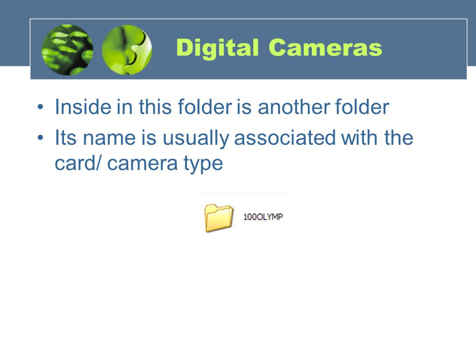 Digital Cameras Inside in this folder is another folder Its name is usually associated with the card/ camera type